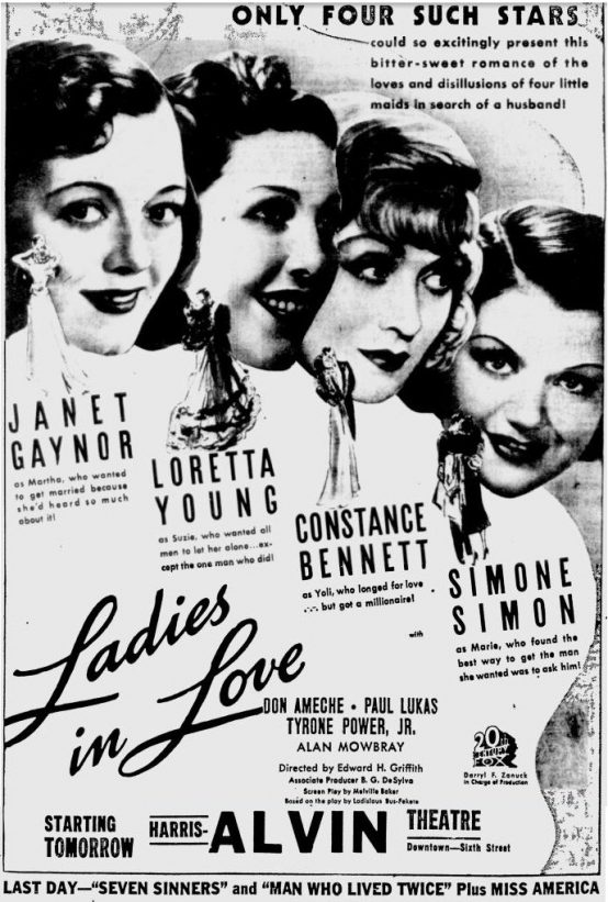 Ladies in Love 1936 newspaper ad
