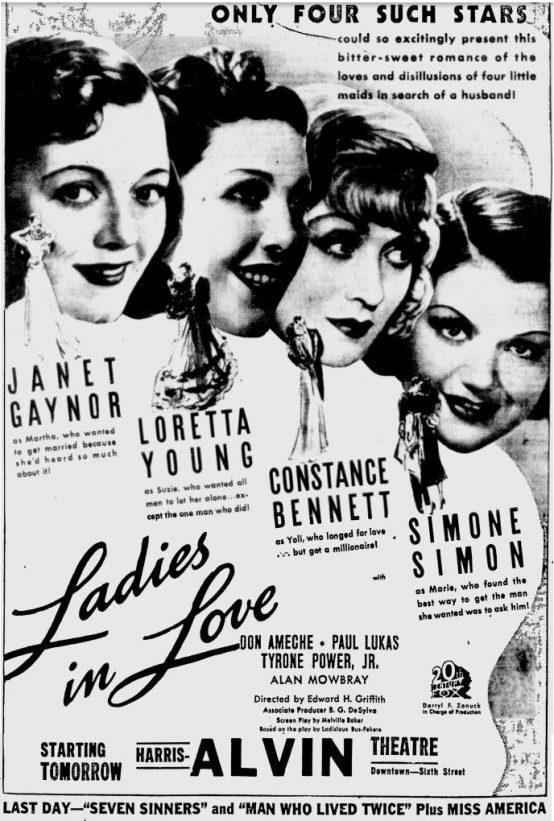 Ladies in Love 1936 newspaper ad