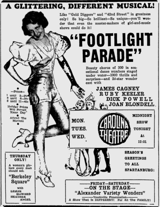 Footlight Parade 1933 newspaper ad