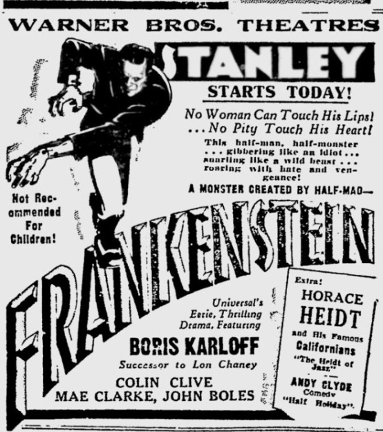 Frankenstein 1931 newspaper ad