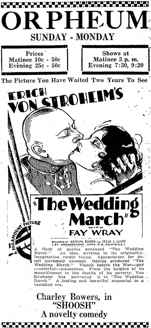 The Wedding March 1928 newspaper ad
