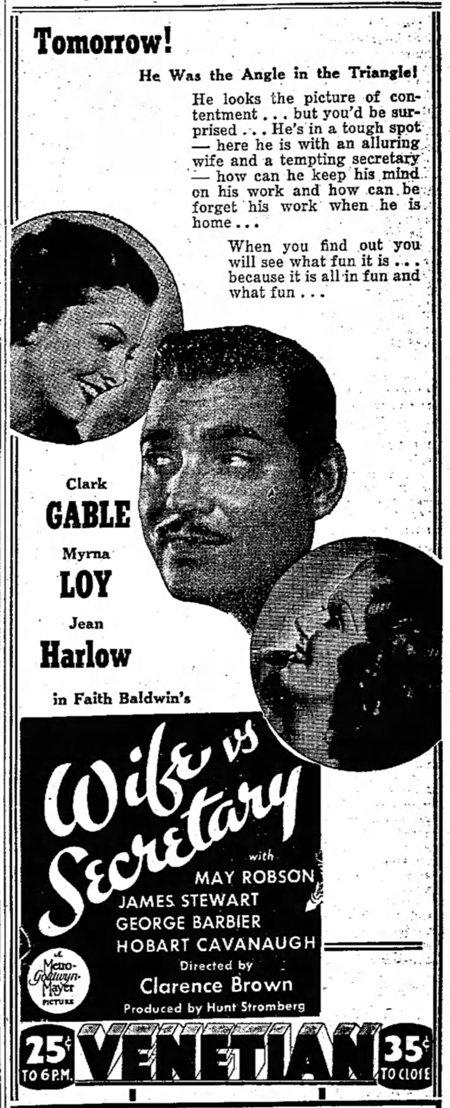 Wife vs Secretary 1936 newspaper ad