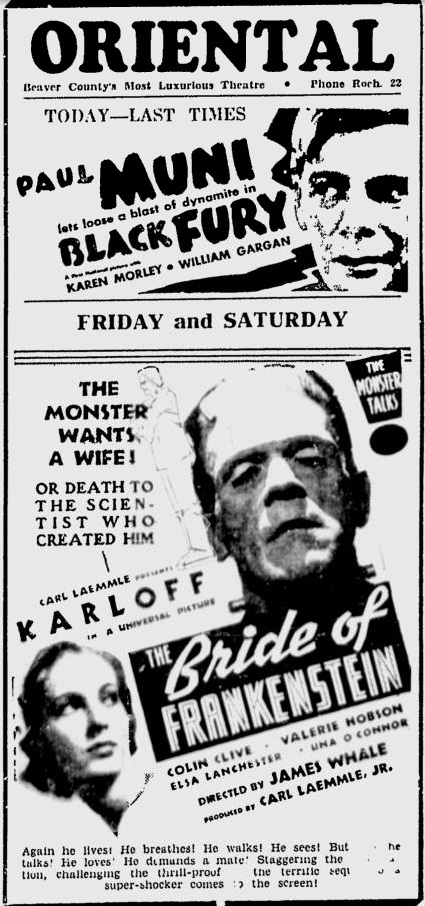 Bride of Frankenstein 1935 newspaper ad