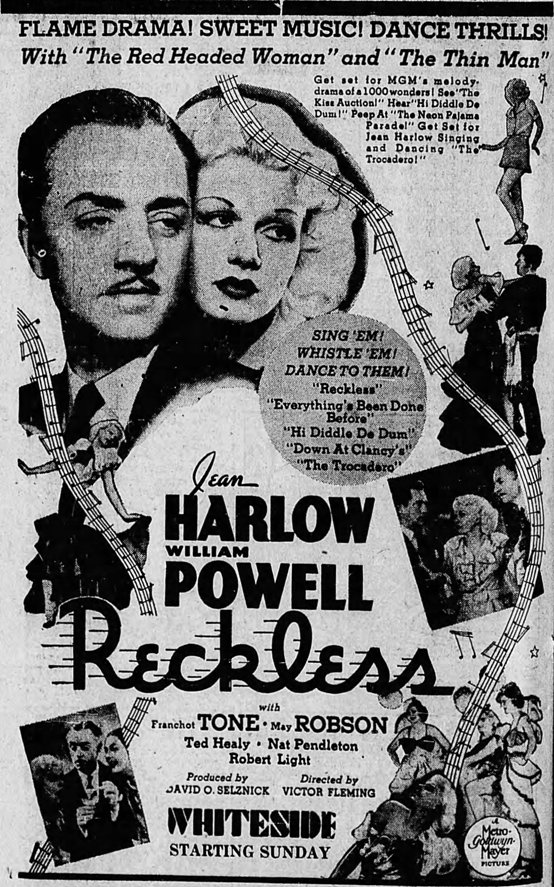 Reckless 1935 newspaper ad