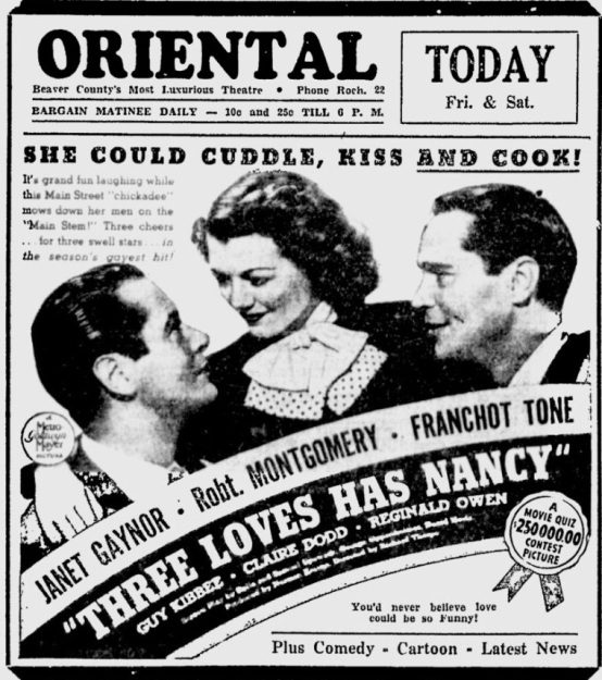 Three Loves Has Nancy 1938 newspaper ad