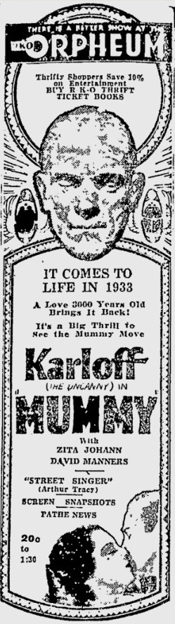 The Mummy 1933 newspaper ad