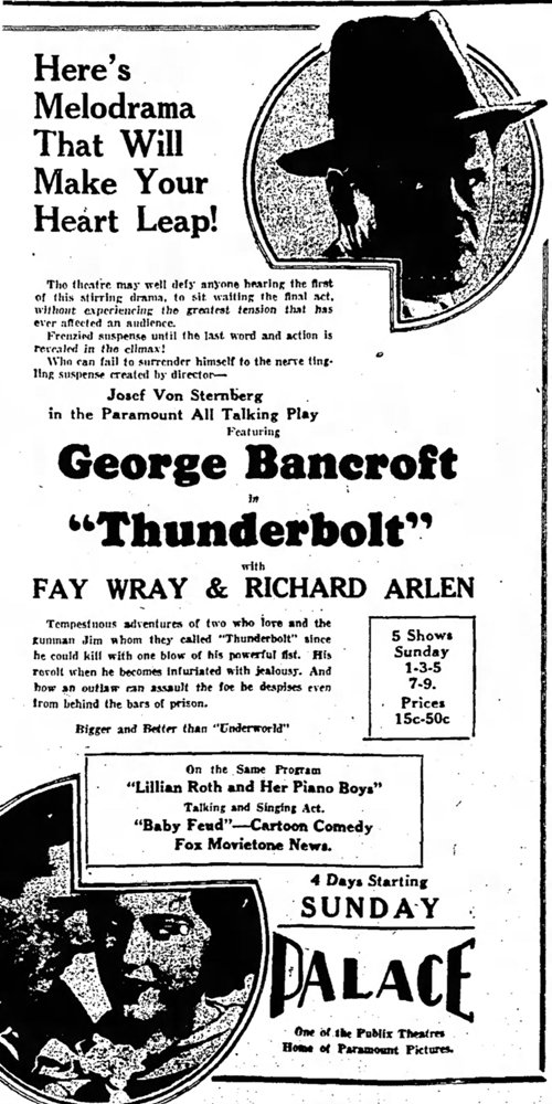 Thunderbolt 1929 newspaper ad