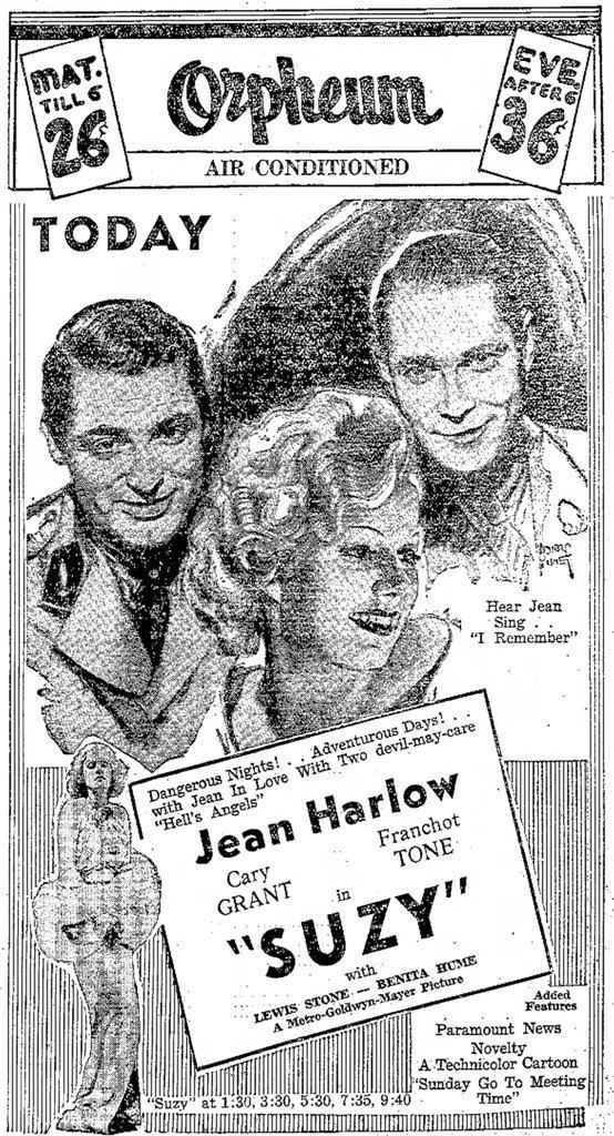 Suzy 1936 newspaper ad
