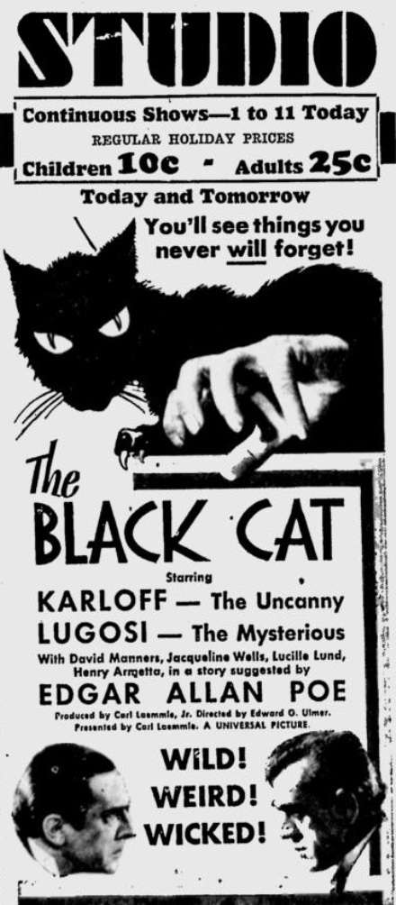 The Black Cat 1934 newspaper ad