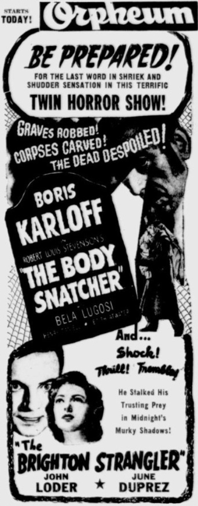 The Body Snatcher 1945 newspaper ad