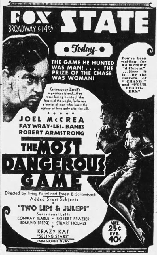 The Most Dangerous Game 1932 newspaper ad