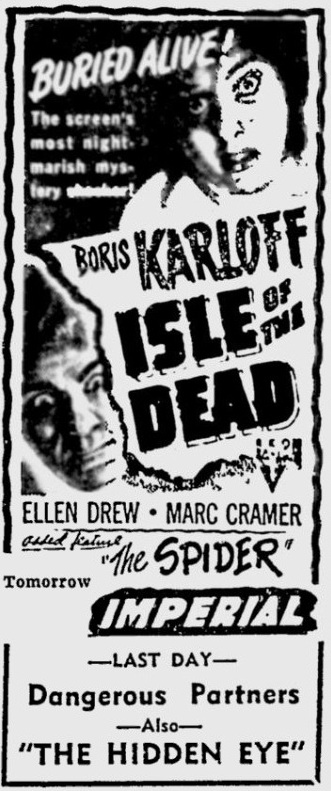 Isle of the Dead 1946 newspaper ad