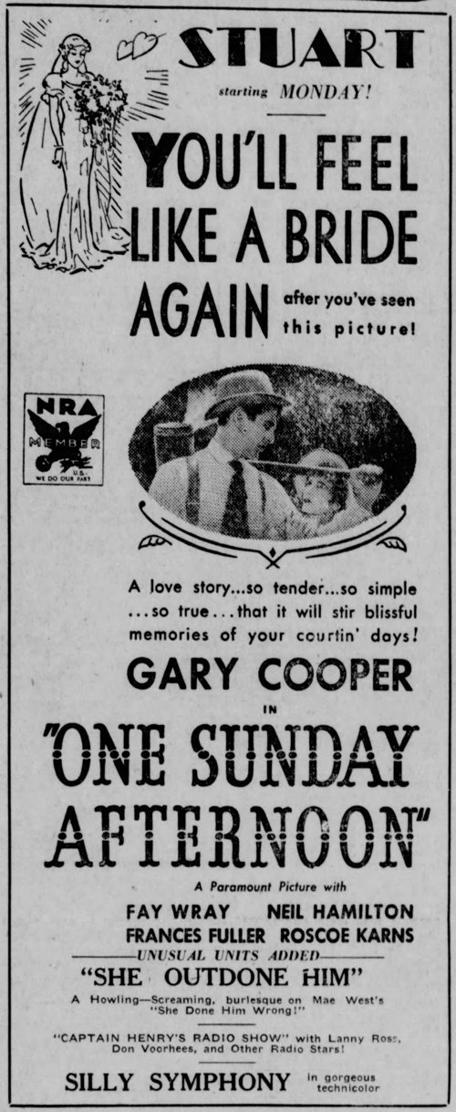One Sunday Afternoon 1933 newspaper ad