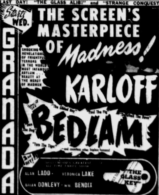 Bedlam 1946 newspaper ad