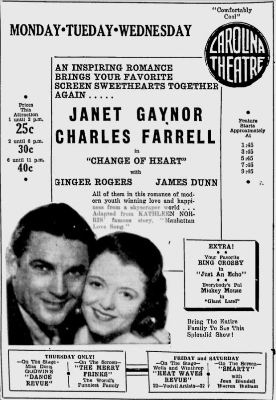 Change of Heart 1934 newspaper advertisement
