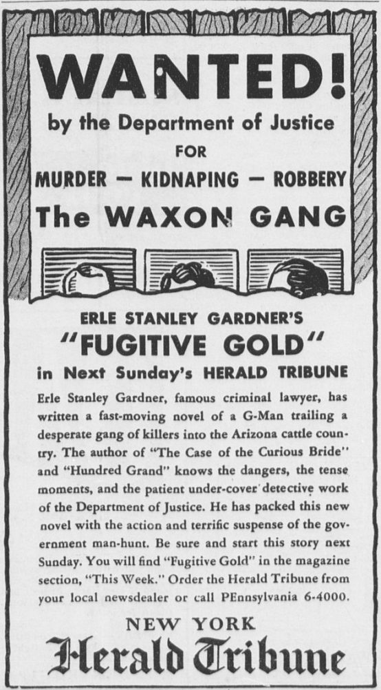 Ad for Fugitive Gold by Erle Stanley Gardner