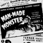Man Made Monster and Horror Island 1941 newspaper ad