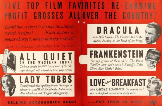 Above: Film Daily advertisement, June 7, 1938, the addition of Dracula brings us closer to a monster-mash.