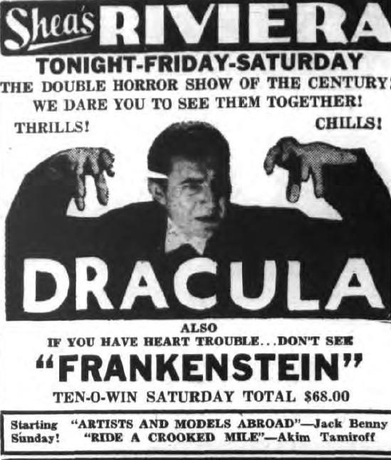Dracula Frankenstein reissues 1939 advertisement