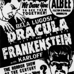 1938 ad for Dracula and Frankenstein in Brooklyn