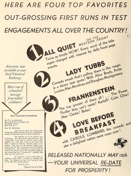Above: Film Daily, April 25, 1938 advertisement heralds Universal's first four reissues. A bit of a mish-mash.