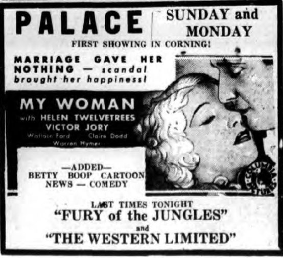 My Woman 1933 newspaper ad