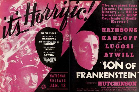 Son of Frankenstein 1938 trade ad