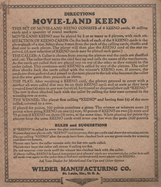 Movie Land Keeno Game Instructions
