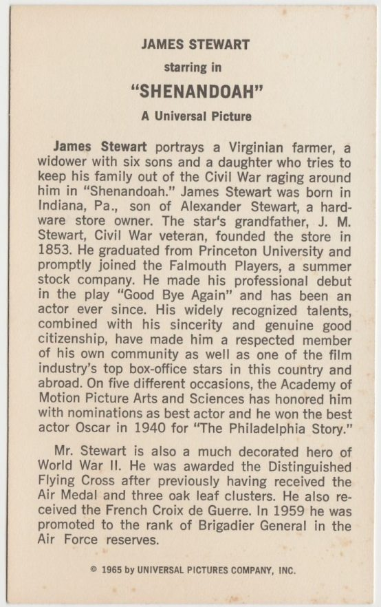 Reverse side of James Stewart in Shenandoah on Universal Promo Card
